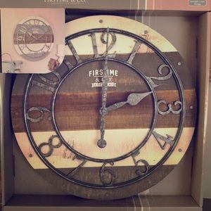 """New 16"""" Pallet Wall Clock American FirsTime&Co"""